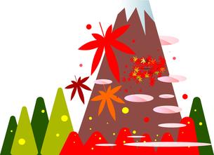 秋の富士山と紅葉の森のフラットデザインイラストのイラスト素材 [FYI04903070]