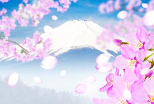 桜と富士山のイラスト素材 [FYI04903495]
