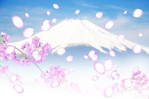 桜と富士山のイラスト素材 [FYI04903547]