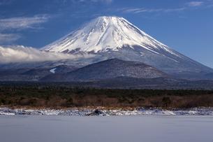 結氷の精進湖と富士山の写真素材 [FYI04903560]