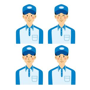 宅配業の男性色々な表情のパターンのイラスト素材 [FYI04903674]