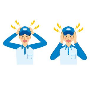頭痛と騒音に悩む宅配業の男性のイラスト素材 [FYI04903685]