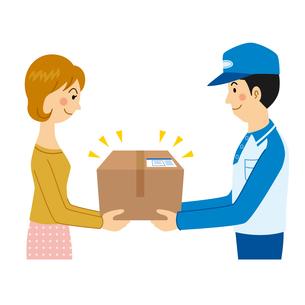荷物を配達先に受け渡しする宅配業者のイラスト素材 [FYI04903694]