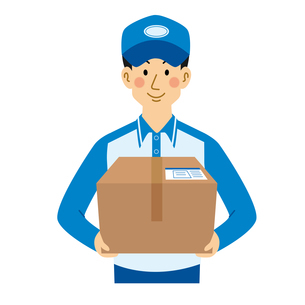 荷物を運ぶ男性の宅配業者のイラスト素材 [FYI04903695]