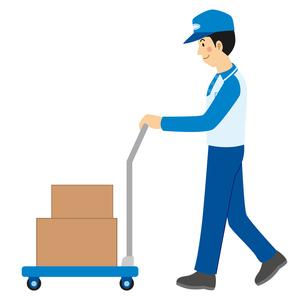 台車で荷物を運ぶ宅配業者のイラスト素材 [FYI04903699]
