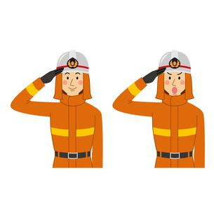消防士の敬礼ポーズのイラスト素材 [FYI04903703]