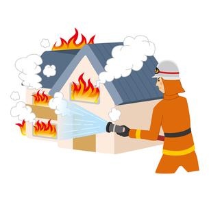 家の火事を消火する消防士のイラスト素材 [FYI04903718]