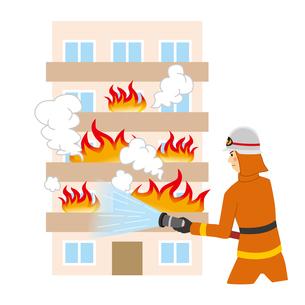 マンションの火事を消火する消防士のイラスト素材 [FYI04903719]