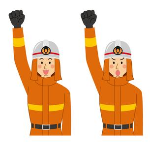 腕を上に上げて気合を入れる消防士のイラスト素材 [FYI04903720]