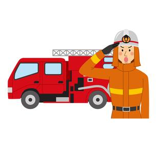 敬礼する消防士と消防車のイラスト素材 [FYI04903721]