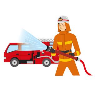 消火活動をする消防士と消防車のイラスト素材 [FYI04903722]