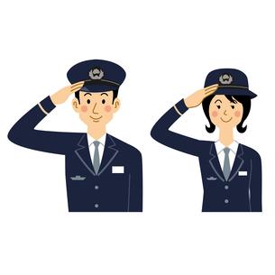 敬礼する鉄道員の男女のイラスト素材 [FYI04903725]