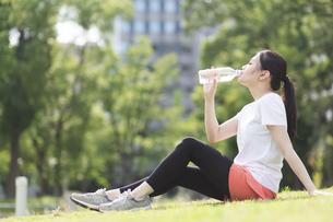 水を飲む女性の写真素材 [FYI04904210]
