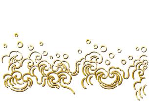 水しぶきをあげている金色の波模様のイラスト【はがきテンプレート】のイラスト素材 [FYI04904275]