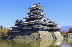 紅葉の松本城の写真素材 [FYI04904287]