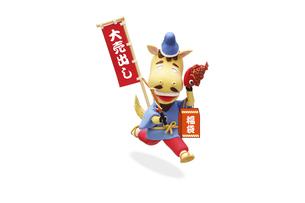 大売出しののぼり旗を持って走る午の恵比須様の写真素材 [FYI04904365]