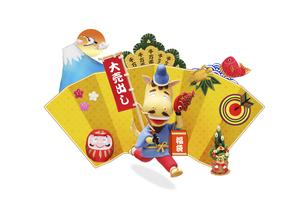 大売出しののぼり旗を持って走る午の恵比須様の写真素材 [FYI04904367]