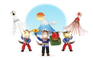 富士山をバックに纏いを見せる午の兄弟と獅子舞をふるまう父親の写真素材 [FYI04904370]