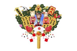 新年のあいさつをする午の親子と熊手の写真素材 [FYI04904387]