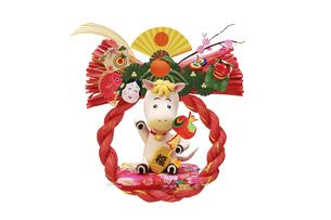 打ち出の小槌を持った招き午の赤いリースの正月飾りの写真素材 [FYI04904396]