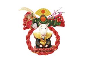新年のあいさつをする午の赤いリースの正月飾りの写真素材 [FYI04904397]
