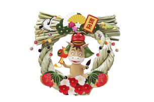 獅子頭をかぶって遊ぶ仔馬の藁縄の正月飾りの写真素材 [FYI04904399]