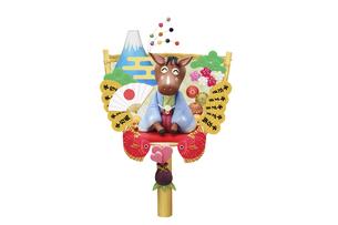 和服姿で新年のあいさつをする午と熊手タイプの箕の写真素材 [FYI04904400]