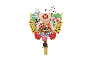 宝船で新年のあいさつをする午の親子の熊手タイプの箕の写真素材 [FYI04904403]
