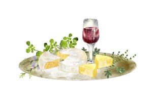 ワインとチーズのセット 水彩イラストのイラスト素材 [FYI04904417]