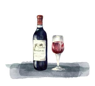 赤ワインの水彩画のイラスト素材 [FYI04904418]