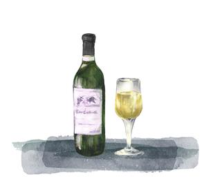 白ワインの水彩画のイラスト素材 [FYI04904419]