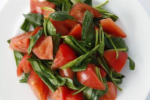 トマトとほうれん草のサラダの写真素材 [FYI04904486]