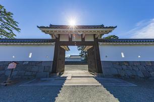 小田原城址公園 二の丸正面に構える馬出門と輝く太陽の写真素材 [FYI04904500]