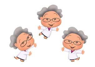 白衣で笑顔のゴキゲンな女性の理科博士のイラスト素材 [FYI04904526]