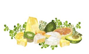 チーズとフルーツの水彩画のイラスト素材 [FYI04904695]