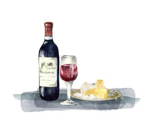 赤ワインとチーズの水彩画のイラスト素材 [FYI04904696]