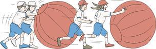 運動会で玉転がしリレーをするのイラスト素材 [FYI04905219]