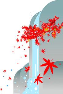 紅葉の滝,秋の和風背景イラストのイラスト素材 [FYI04905377]