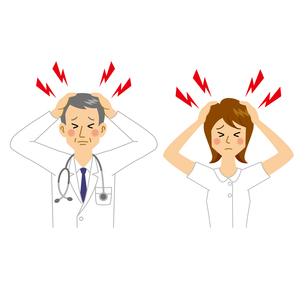 困る医者と看護師のイラスト素材 [FYI04905682]