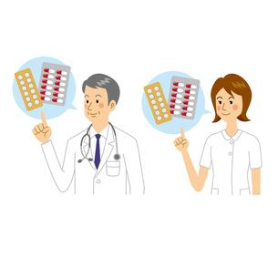 薬を説明する医者と看護師のイラスト素材 [FYI04905688]