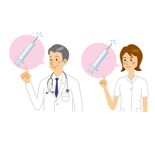 注射を説明する医者と看護師のイラスト素材 [FYI04905689]