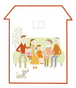 三世代家族の家のイラスト素材 [FYI04905703]