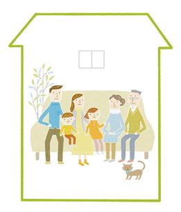 三世代家族の家のイラスト素材 [FYI04905704]