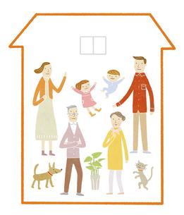 三世代家族の家のイラスト素材 [FYI04905705]