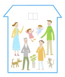 三世代家族の家のイラスト素材 [FYI04905706]