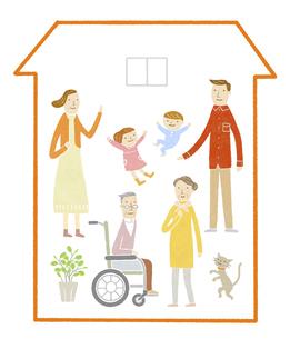 車椅子の利用者がいる三世代家族の家のイラスト素材 [FYI04905707]