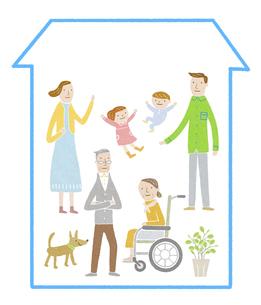 車椅子の利用者がいる三世代家族の家のイラスト素材 [FYI04905708]