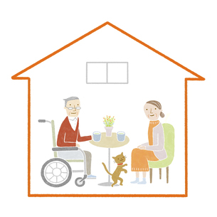 車椅子の高齢者夫婦の家のイラスト素材 [FYI04905709]