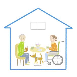 車椅子の高齢者夫婦の家のイラスト素材 [FYI04905710]
