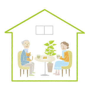 高齢者夫婦の家のイラスト素材 [FYI04905711]